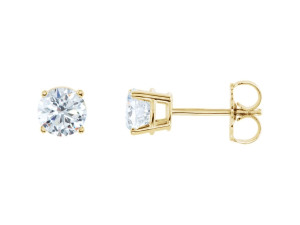 Genuine Diamond Earrings - Polished 14K Yellow Gold Genuine Diamond Earrings