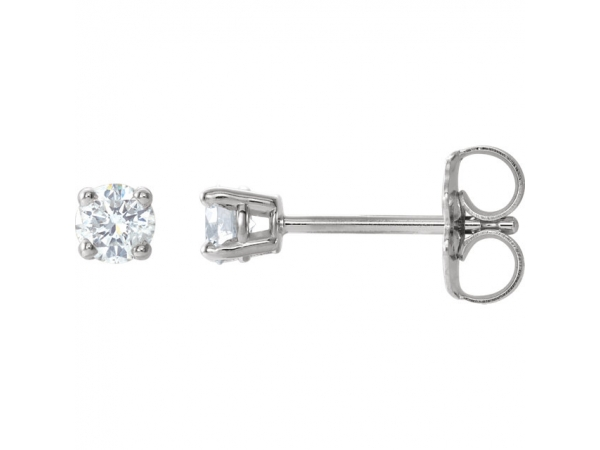 Round 4-Prong Lightweight Wire Basket Earrings - 14K White 1/5 CTW Diamond Earrings