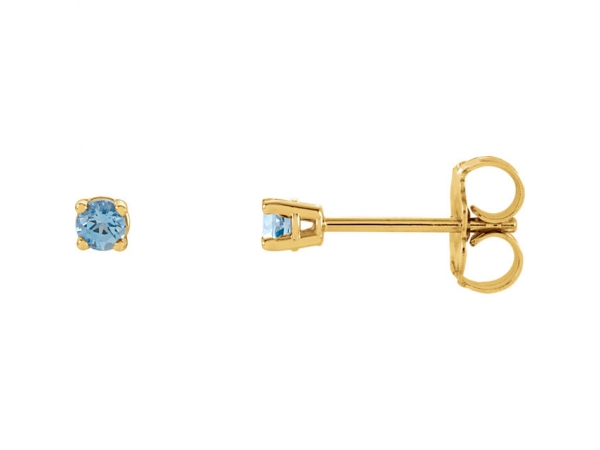 Round 4-Prong Lightweight Wire Basket Earrings - 14K Yellow 2.5mm Round Aquamarine Earrings