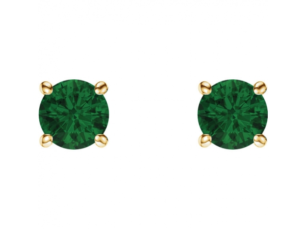 Gemstone Earrings - Genuine Emerald Earrings - image #2