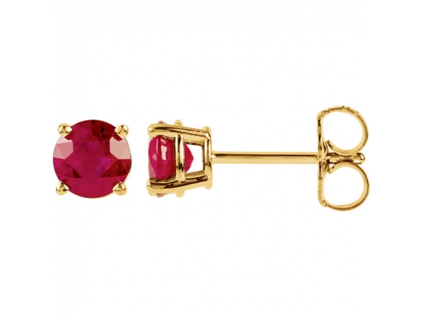 Round 4-Prong Lightweight Wire Basket Earrings - 14K Yellow 5mm Round Ruby Earrings