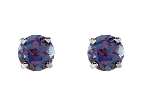 Gemstone Earrings - Lab-Created Alexandrite Earrings - image #2