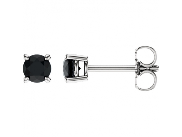 Genuine Onyx Earrings - Polished 14K White Gold Genuine Onyx Earrings