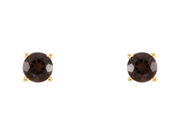 Gemstone Earrings - Genuine Smoky Quartz Earrings - image #2