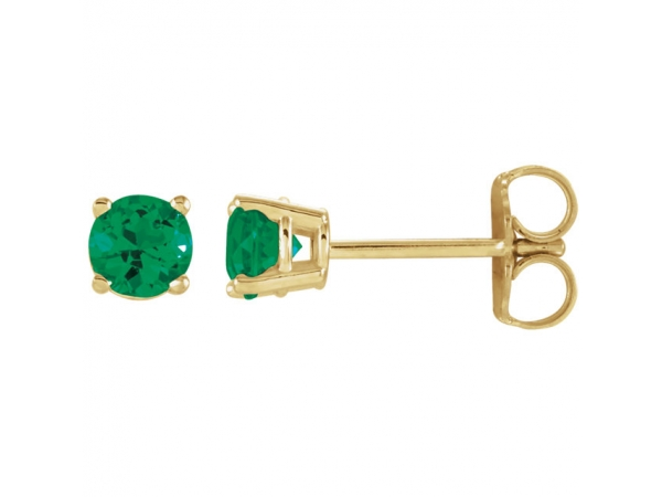 Lab-Created Emerald Earrings - Polished 14K Yellow Gold Lab-Created Emerald Earrings