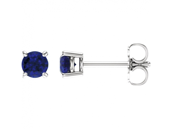 Round 4-Prong Lightweight Wire Basket Earrings - 14K White 4mm Round Chatham® Created Blue Sapphire Earrings