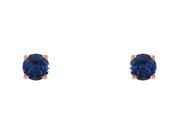 Gemstone Earrings - Lab-Created Blue Sapphire Earrings - image #2