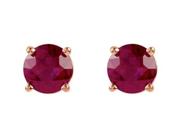 Gemstone Earrings - Lab-Created Ruby Earrings - image #2