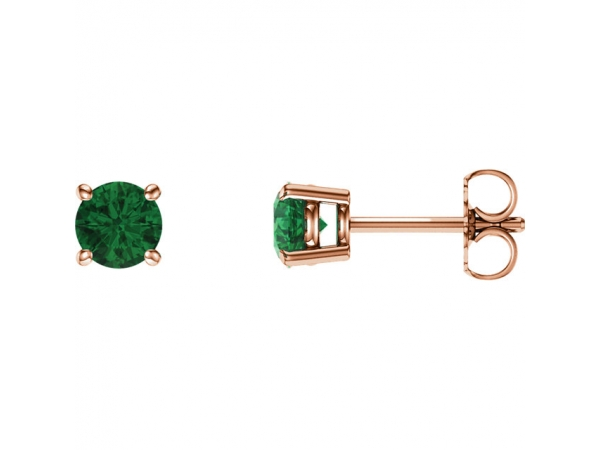 Gemstone Earrings Lab Created Emerald