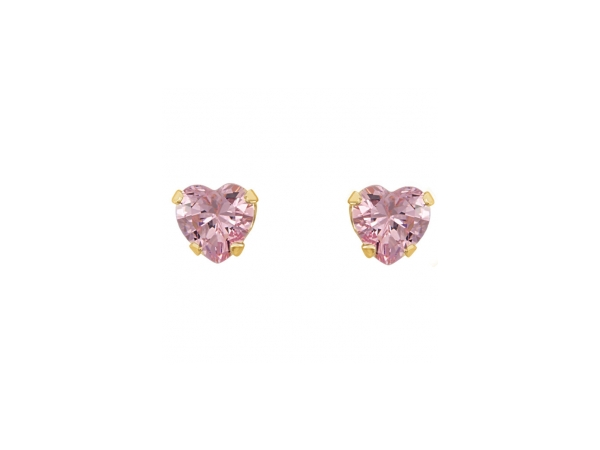 Colored Stone Earrings - Imitation Pink Cubic Zirconia Earrings - image #2