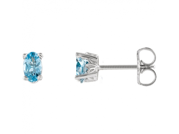 Oval 4-Prong Scroll Setting® Earrings - 14K White Aquamarine Earrings
