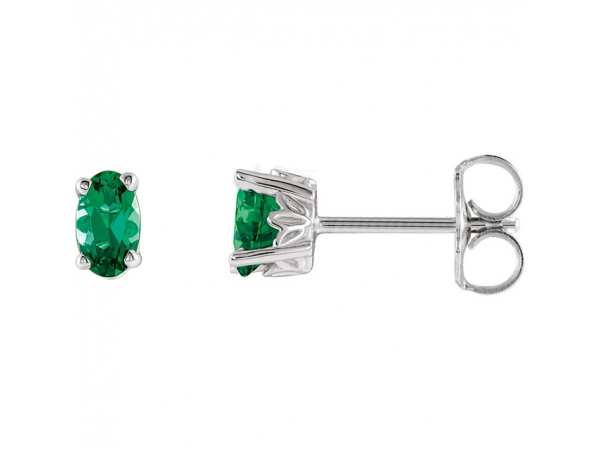 Emerald Earrings - Polished 14K White Gold Emerald Earrings