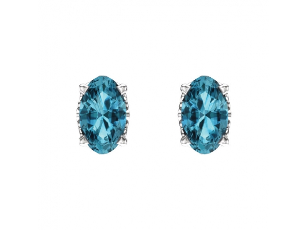 Gemstone Earrings - Blue Zircon Earrings - image #2