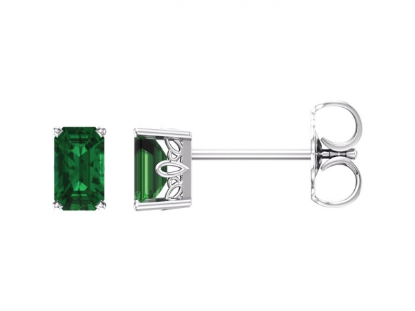 Gemstone Earrings - Emerald 4-Prong Scroll Setting® Earrings