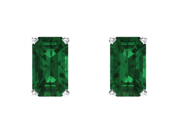 Gemstone Earrings - Emerald 4-Prong Scroll Setting® Earrings  - image #2
