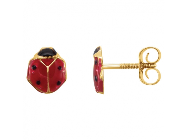 Youth Enameled Ladybug Earrings - 14K Yellow Red Enamel Ladybug Earrings