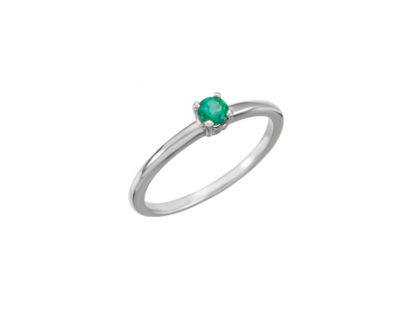 Created Emerald Ring - Polished 14K White Gold Created Emerald Ring