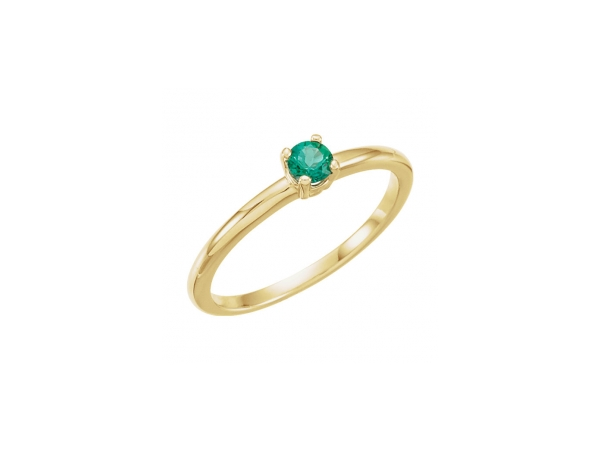 Genuine Emerald Ring - Polished 14K Yellow Gold Genuine Emerald Ring