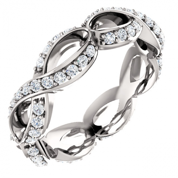 Diamond Fashion Rings - Sculptural-Inspired Engagement  Ring  Matching Band