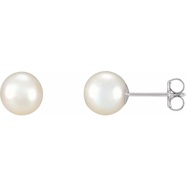 Gemstone Earrings - Freshwater Cultured Pearl Stud Earrings