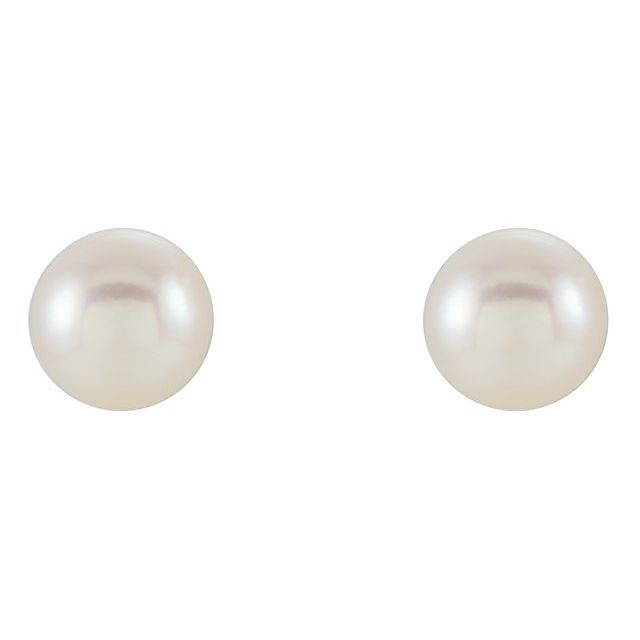 Gemstone Earrings - Pearl Stud Earrings  - image #2