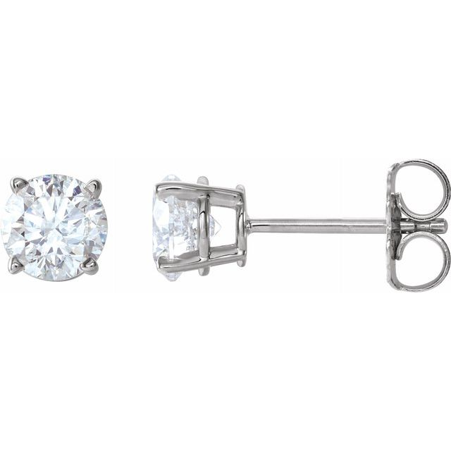 Diamond Earrings - Round 4-Prong Lightweight Wire Basket Earrings