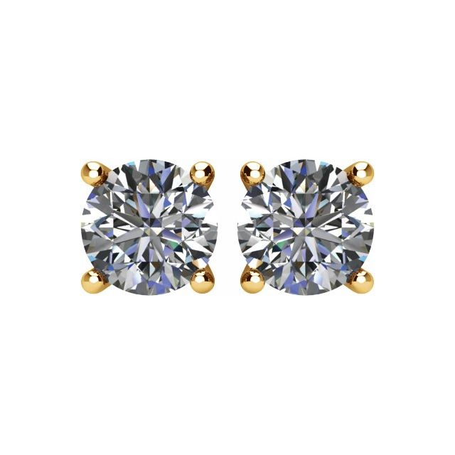 Diamond Earrings - Round 4-Prong Lightweight Wire Basket Earrings - image #2