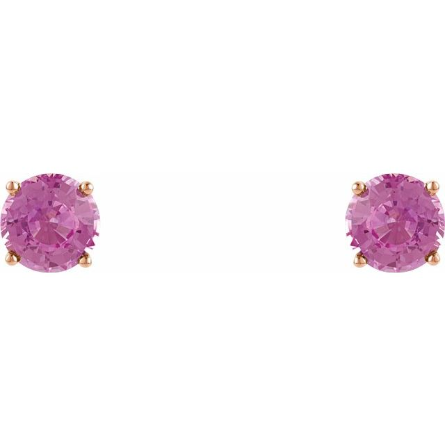 Gemstone Earrings - Genuine Pink Sapphire Earrings - image #2