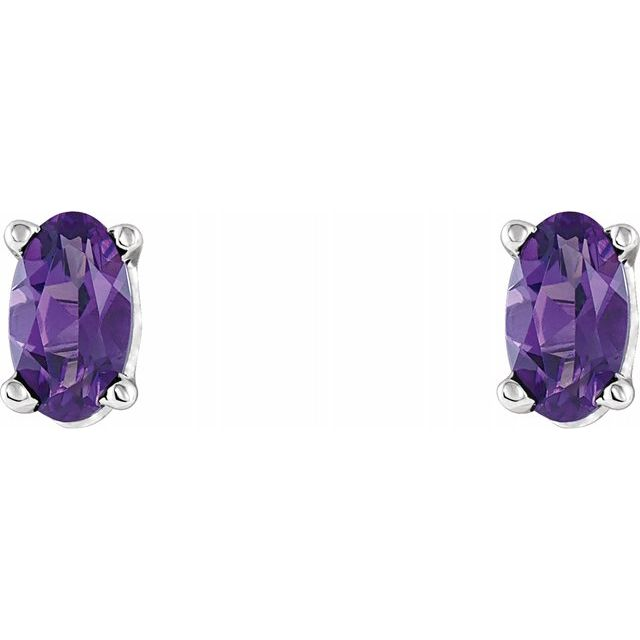Gemstone Earrings - Oval 4-Prong Scroll Setting® Earrings - image #2