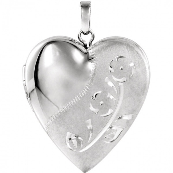 Diamond Pendants - Design-Engraved Heart Locket