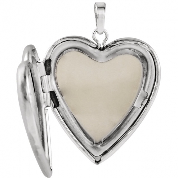 Diamond Pendants - Design-Engraved Heart Locket  - image #2