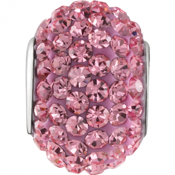 Beads - Kera® Roundel Bead with Pave' Rose Crystals
