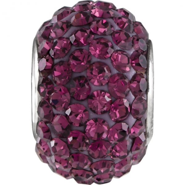 Beads - Kera® Roundel Bead with Pave Purple Crystals