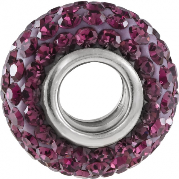 Beads - Kera® Roundel Bead with Pave Purple Crystals - image #2