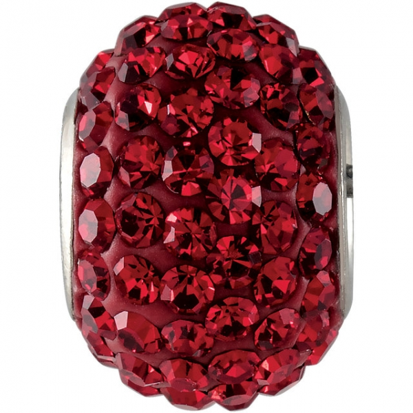 Beads - Kera® Roundel Bead with Pavé Red Crystals