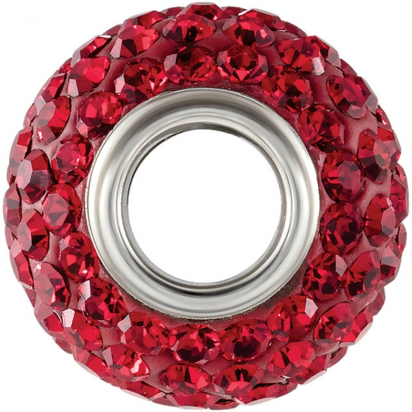 Beads - Kera® Roundel Bead with Pave Red Crystals - image #2