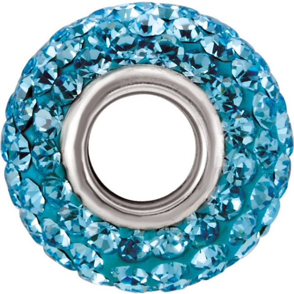 Beads - Kera® Aquamarine-Colored Crystal Pave' Bead - image #2