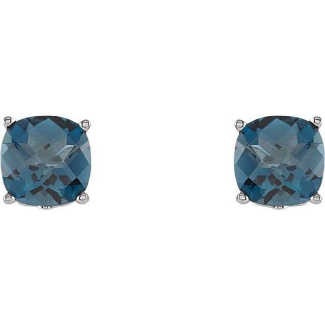 Gemstone Earrings - Cushion 4-Prong Scroll Setting® Earrings  - image #2