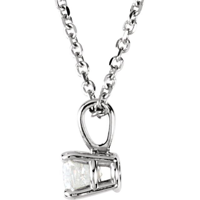 Diamond Necklaces - Round 4-Prong Pendant - image #2