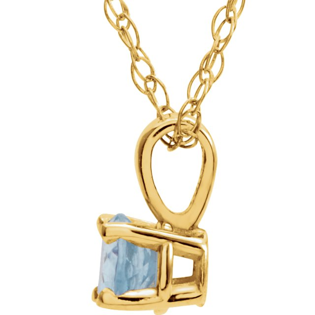 Gemstone Necklaces - Youth 4-Prong Solitaire  Necklace  - image 2
