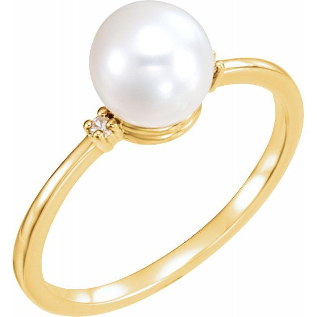 Gemstone rings - Accented Ring for Pearl