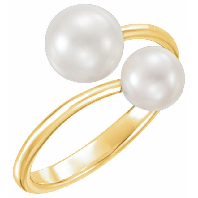 Gemstone rings - Two-Stone Bypass Pearl Ring