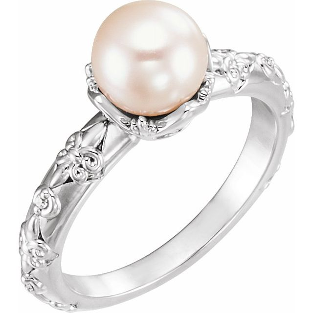 Gemstone rings - Vintage-Inspired Accented Pearl Ring