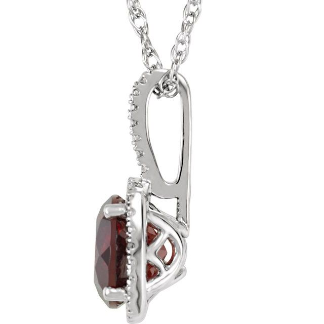 Gemstone Necklaces - Halo-Style Birthstone Necklace - image #2