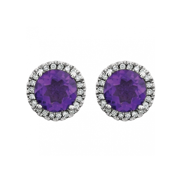 Gemstone Earrings Genuine Amethyst Image 2