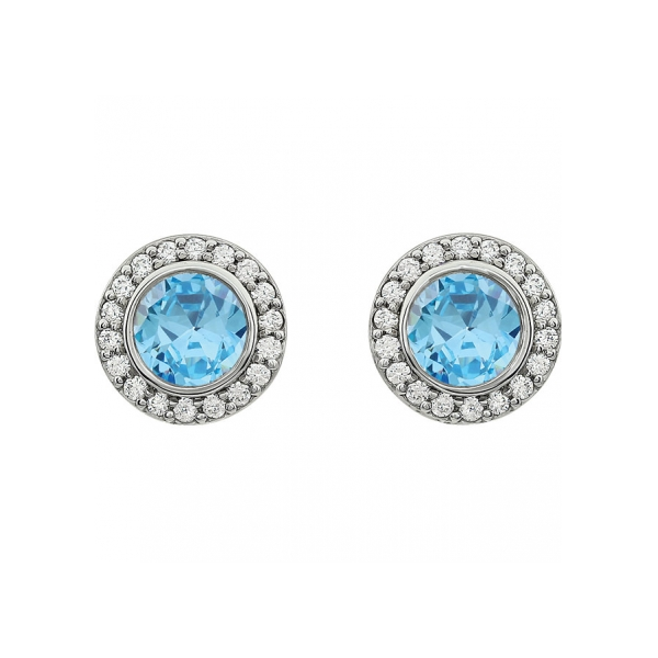 Gemstone Earrings Light Blue Cubic Zirconia Image 2