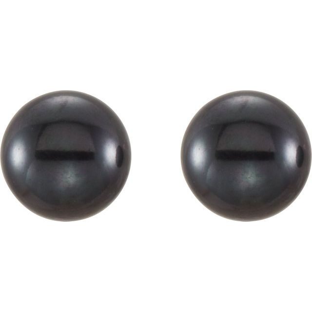Gemstone Earrings - Freshwater Cultured Pearl Stud Earrings - image #2