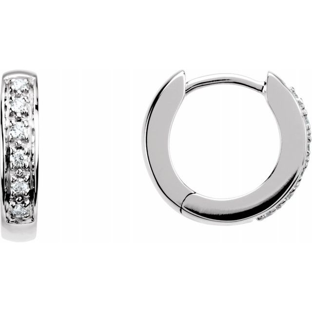 Diamond Earrings - Hinged Hoop Earrings
