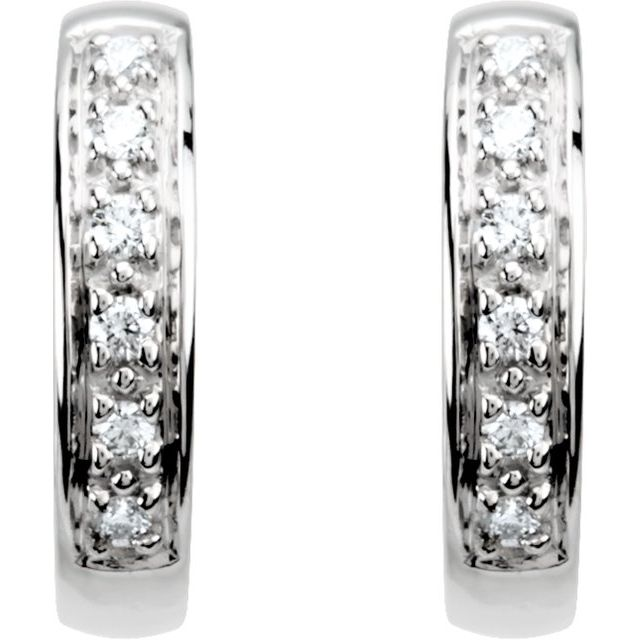 Diamond Earrings - Hinged Hoop Earrings - image #2