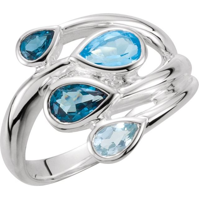 Gemstone rings - Sky Blue Topaz, London Blue Topaz & Swiss Blue Topaz Bypass Ring